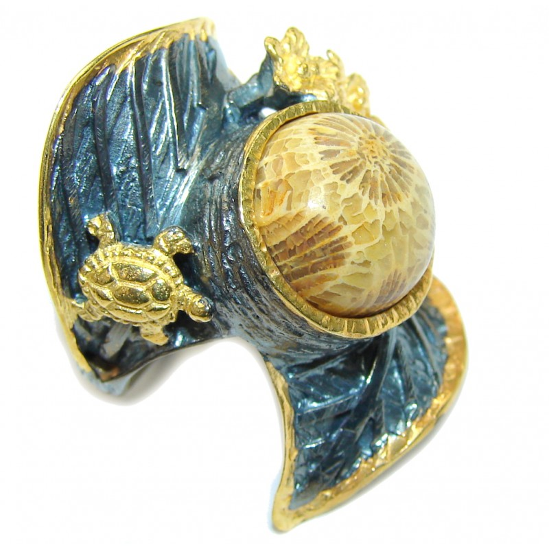 Big! Gorgeous Brown Fossilized Coral, Gold PLated, Rhodium Plated Sterling Silver ring s. 7
