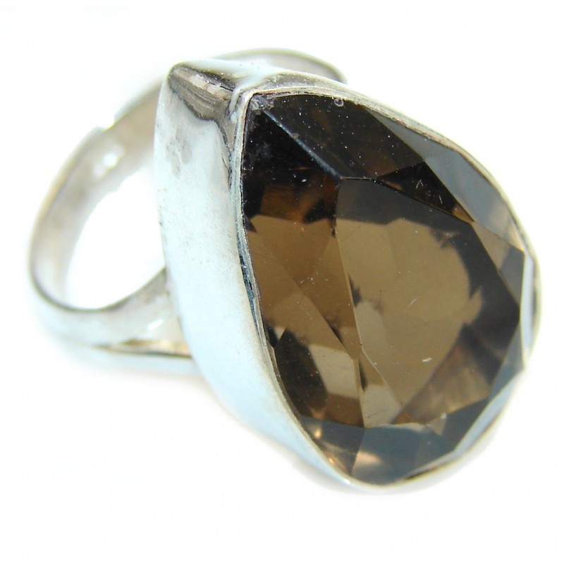 Excellent Smoky Topaz Sterling Silver ring s. 6 1/4