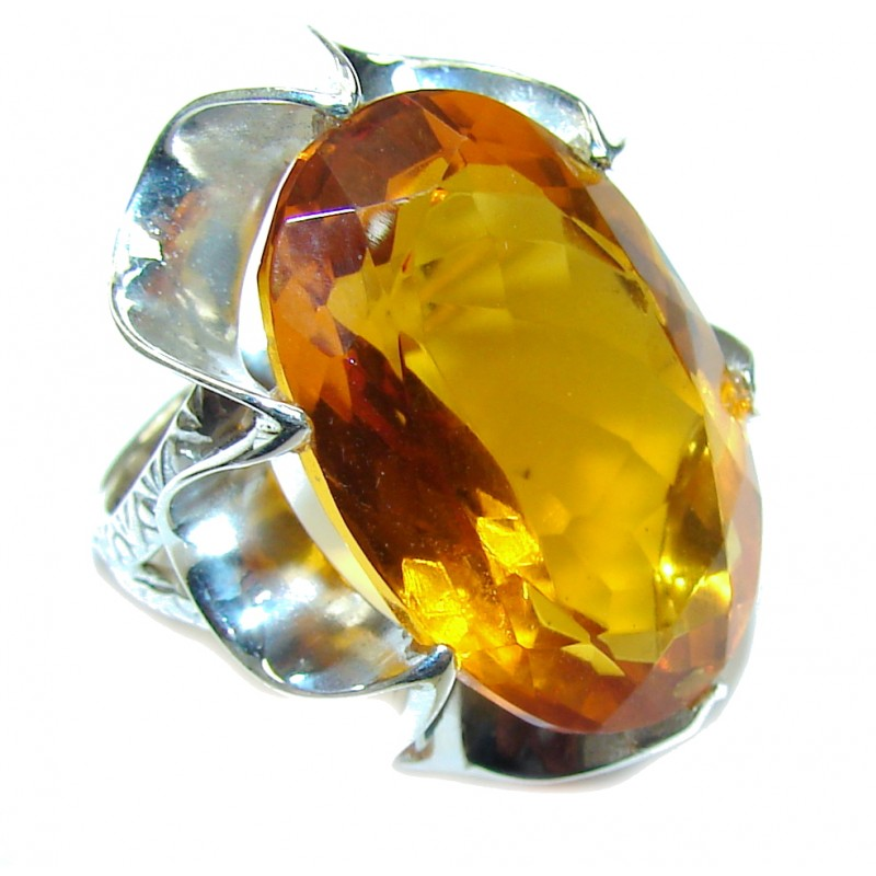 Amazing Created Golden Topaz Sterling Silver Ring s. 6 1/2