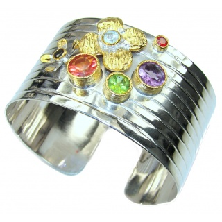 Aura Of Beauty! Multicolor Quartz,Two Tones Sterling Silver Bracelet / Cuff