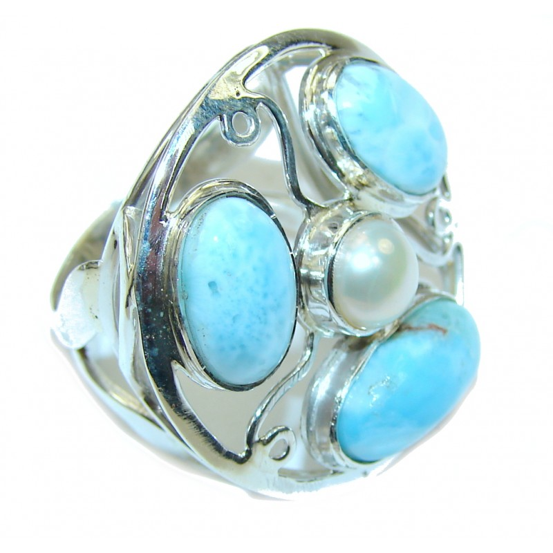 Natural Beauty AAA Blue Larimar & Fresh Water Pearl Sterling Silver Ring s. 8 1/4