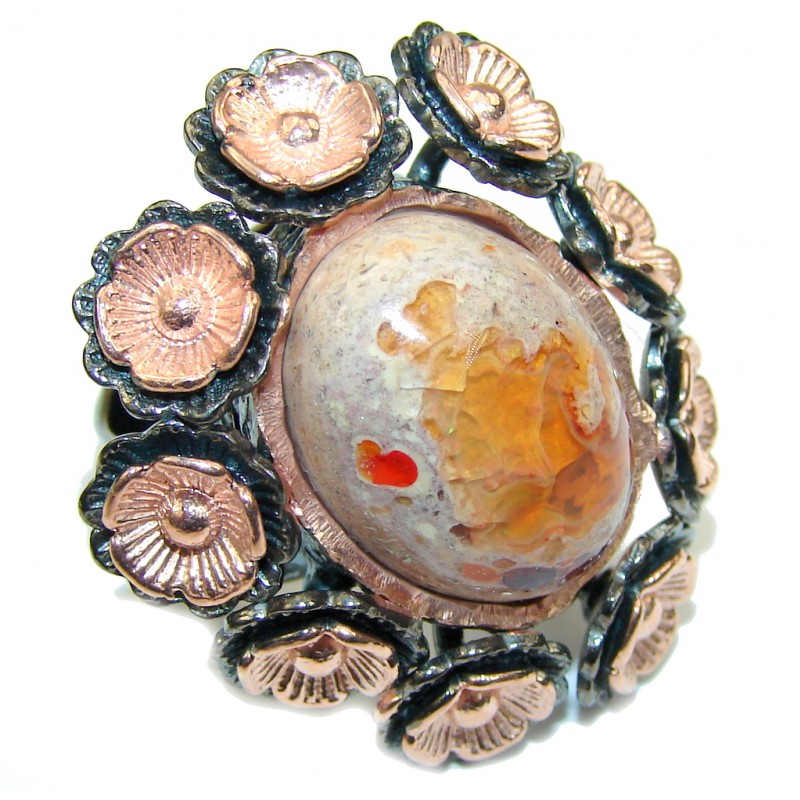 Incredible Mexican Fire Opal, Rose Gold Plated, Rhodium Plated Sterling Silver Ring s. 6 1/2