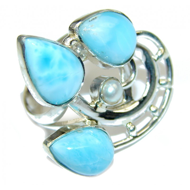 Delicate AAA Blue Larimar & Fresh Water Pearl Sterling Silver Ring s. 7 1/2