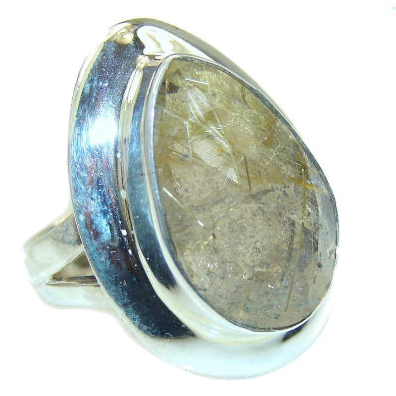 Simple Beauty Golden Rutilated Quartz Sterling Silver ring s. 8