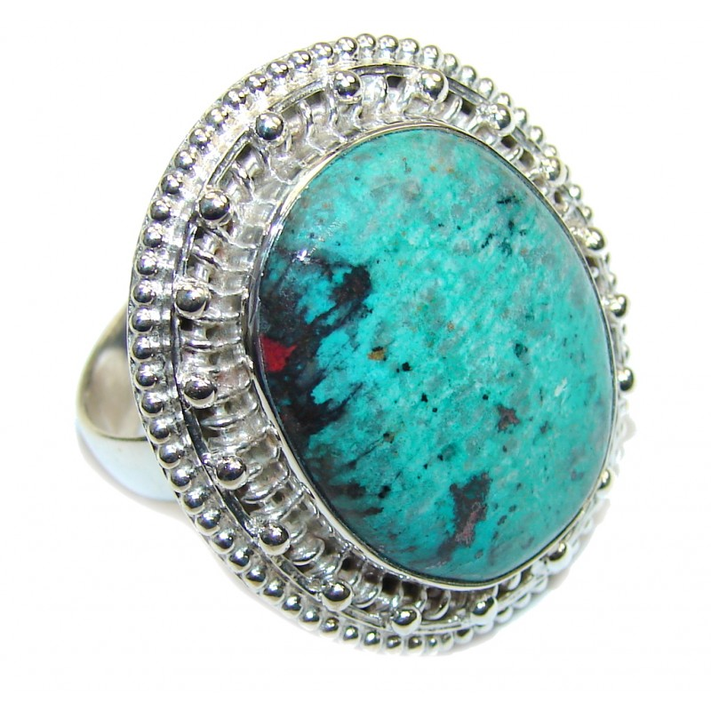 Fantastic Green! Red Sonora Jasper Sterling Silver Ring s. 11
