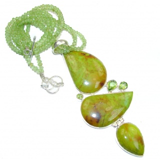 Very Rare Gaspatite From Tasmania & Peridot Sterling Silver necklace