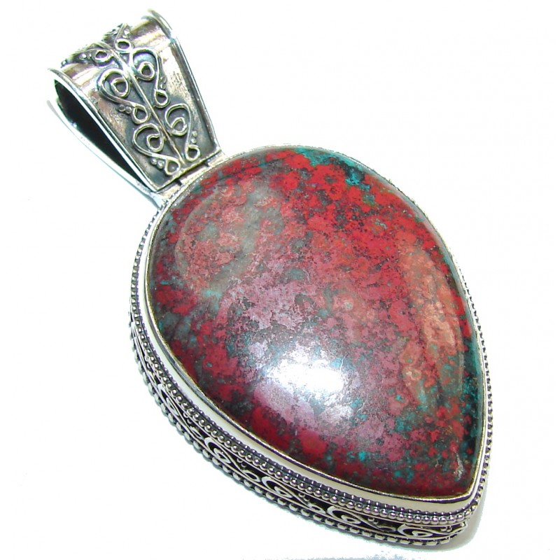Natural Red Sonora Jasper Sterling Silver Pendant