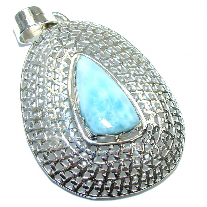 Icy Queen! AAA Blue Larimar Sterling Silver Pendant