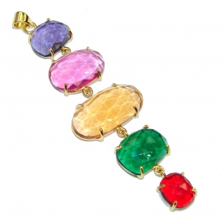 Amazing Multicolor Quartz 18K Gold Plated Sterling Silver Pendant / Long