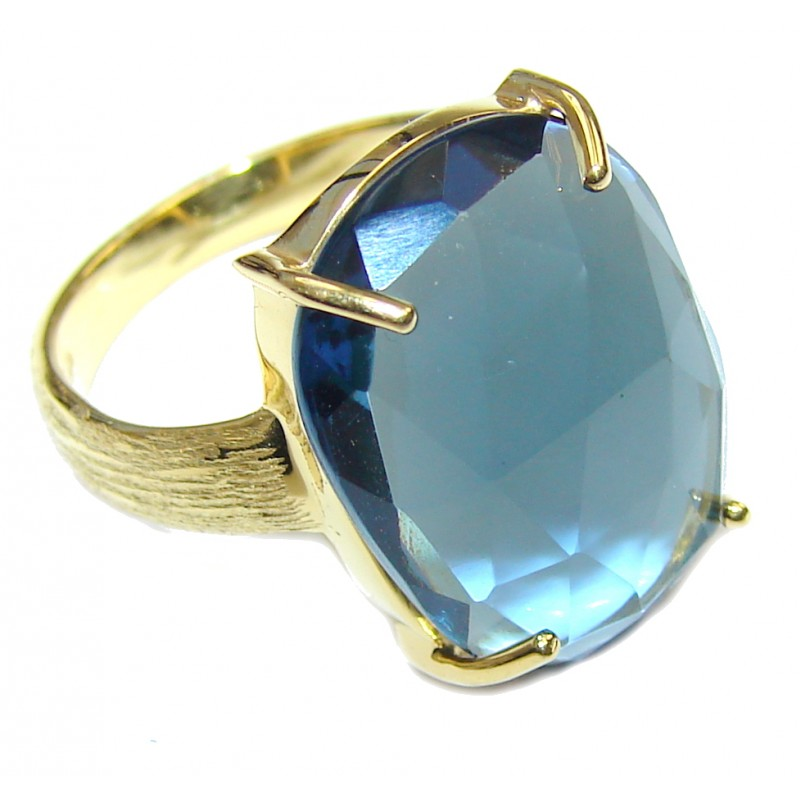 Delicate Light Blue Quartz 18K Gold Plated Sterling Silver Ring s. 7 1/2