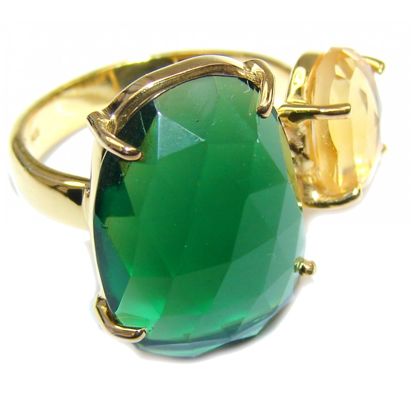 Summer Beauty! Yellow & Green Quartz 18K Gold Plated Sterling Silver Ring s. 7