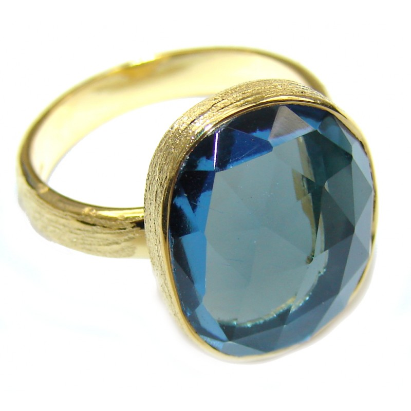 Ocean Secret! Blue Quartz 18K Gold Plated Sterling Silver Ring s. 7