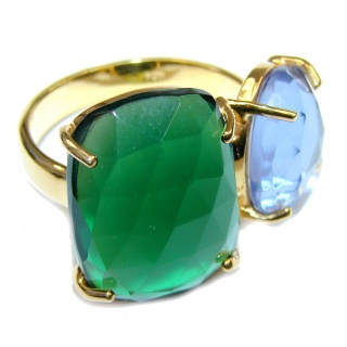 Perfect Gift! Green & Purple Quartz 18K Gold Plated Sterling Silver Ring s. 7