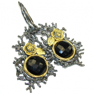 Huge! Stunning Design! AAA Onyx , Gold Plated, Rhodium Plated Sterling Silver earrings