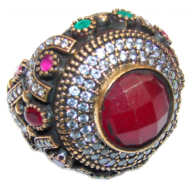 Victorian Style! Ruby & Emerald & White Topaz Sterling Silver Ring s. 9 1/4