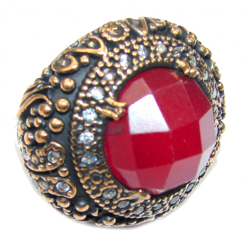 Victorian Style! Red Ruby & White Topaz Sterling Silver Ring s. 7 1/4