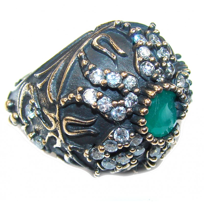 Vintage Style! Emerald & White Topaz Sterling Silver Ring s. 6 1/4