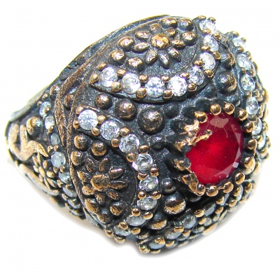 Victorian Style! Red Ruby & White Topaz Sterling Silver Ring s. 6 1/2