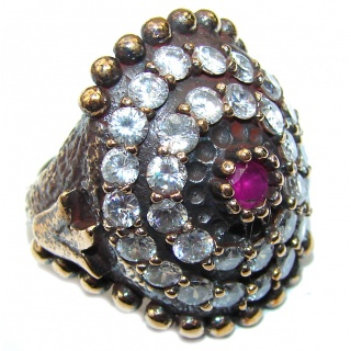 Victorian Style! Pink Ruby & White Topaz Sterling Silver Ring s. 6 1/2