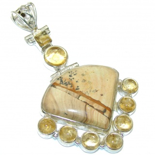 Big! Excellent Brown Picture Jasper Sterling Silver Pendant