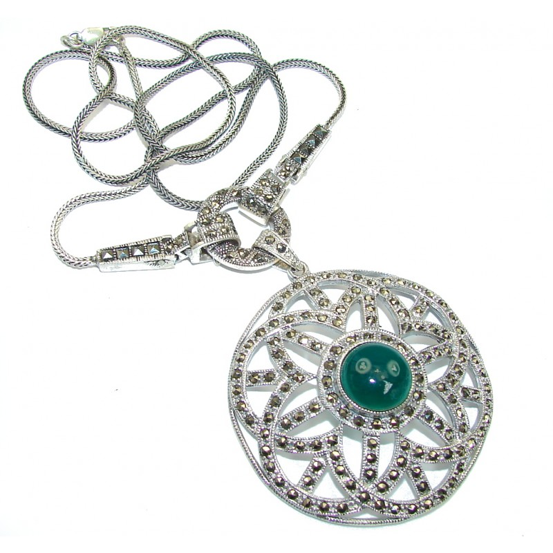 Vintage Style! Marcasite & Agate Sterling Silver necklace
