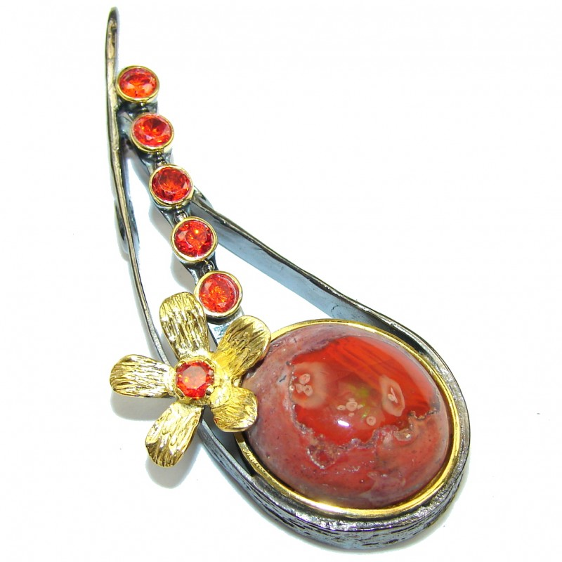 New Fashion Design! Mexican Fire Opal, Gold Plated, Rhodium Plated Sterling Silver Pendant