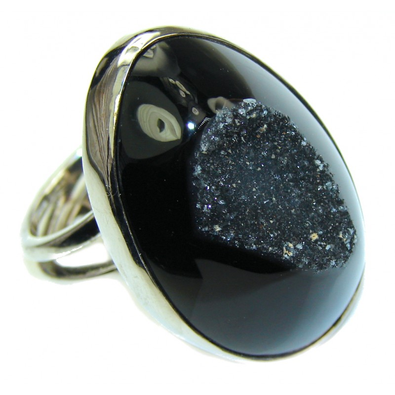 Classy Druzy Agate Sterling Silver Ring s. 7 1/4 adjustable