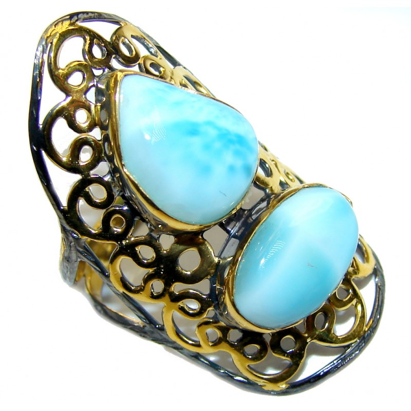 Exotic Style! AAA Blue Larimar, Gold Plated, Rhodium Plated Sterling Silver Ring s. 8