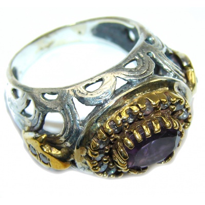 Special AAA Purple Amethyst, Two Tones Sterling Silver ring s. 8 1/4