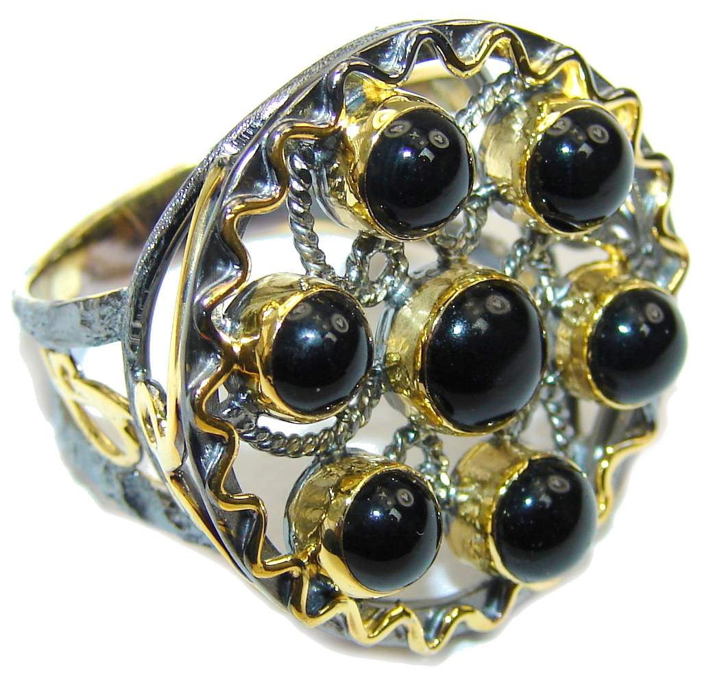 Secret Beauty Black Onyx Gold Plated Rhodium Plated