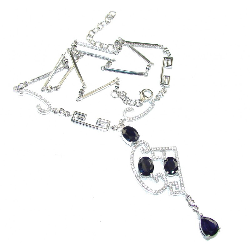 Genuine Blue Sapphire & White Topaz Sterling Silver necklace