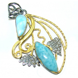 Exclusive AAA Blue Larimar, Gold Plated, Rhodium Plated Sterling Silver Pendant