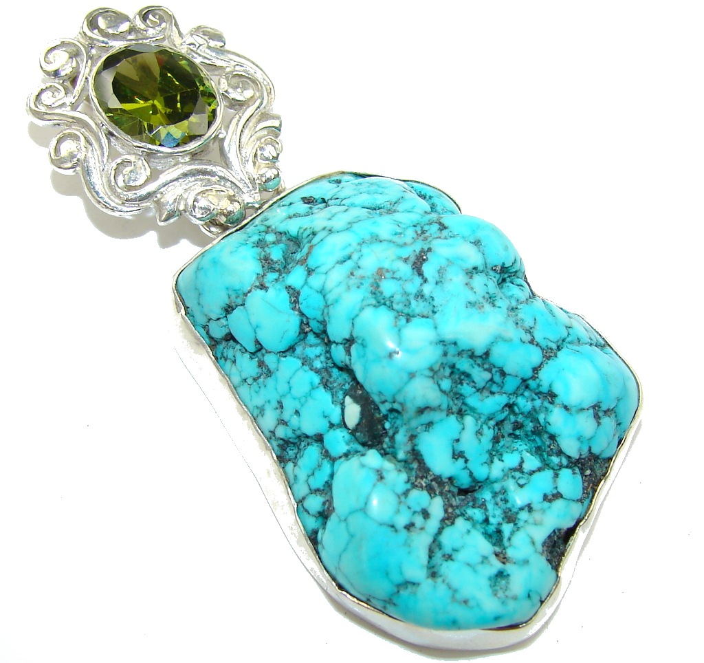 Fashion Rough Blue Turquoise Sterling Silver Pendant 25
