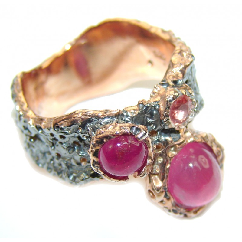 Perfect Pink Ruby, Rose Gold Plated, Rhodium Plated Sterling Silver Ring s. 7 1/4
