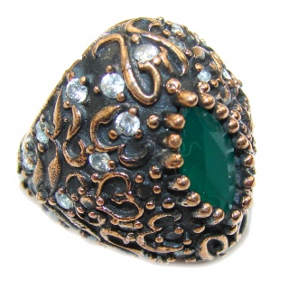 Victorian Style! Emerald & White Topaz Sterling Silver Ring s. 6 1/2