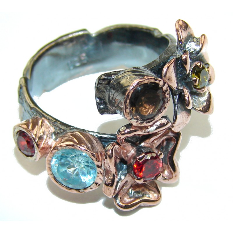 Perfect! Swiss Blue Topaz, Rhodium Plated, Rose Gold Plated Sterling Silver Ring s. 8