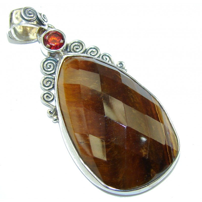Perfect Brown Tigers Eye Sterling Silver Pendant