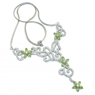 Genuine AAA Green Peridot & White Topaz Sterling Silver necklace