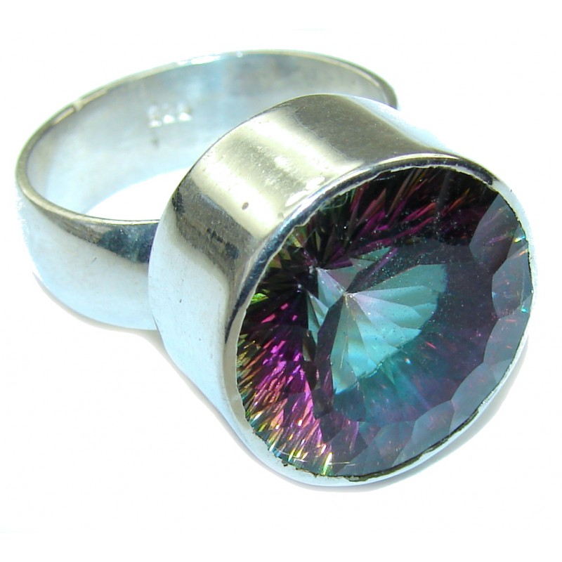 Big! Tropical Magic Topaz Sterling Silver Ring s. 11