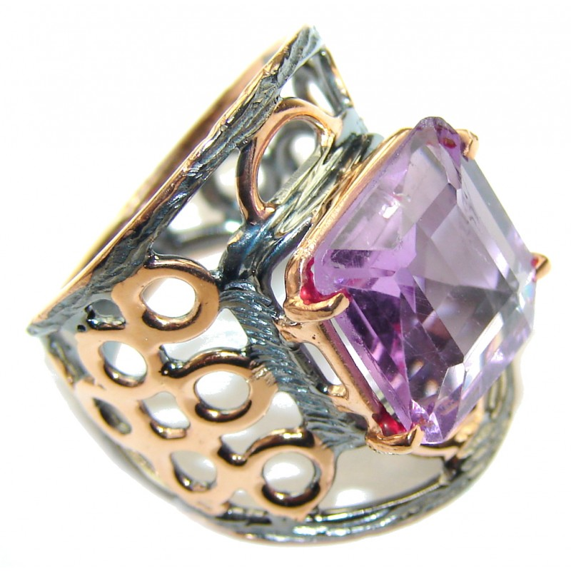 Genuine AAA Purple Amethyst, Rose Gold Plated, Rhodium Plated Sterling Silver ring s. 6 1/2