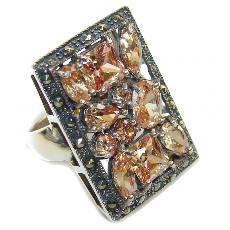 Amazing AAA Golden Topaz Quartz & Marcasite Sterling Silver ring s. 6