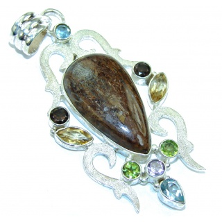Marvelous Long Golden Pietersite Sterling Silver pendant