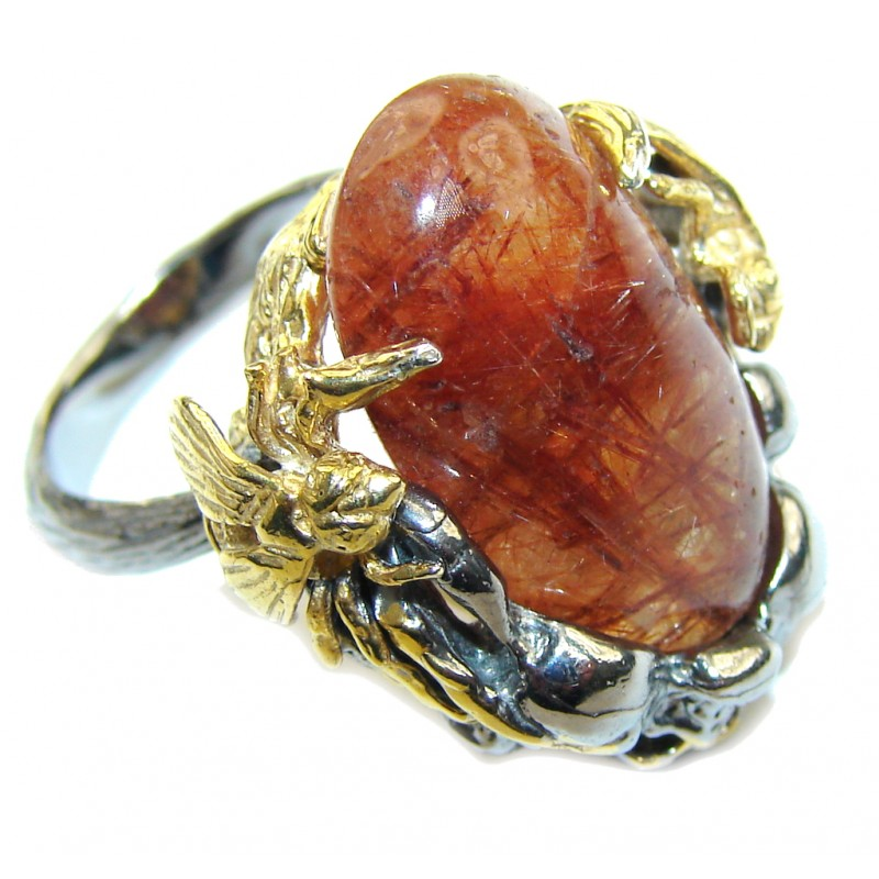 Himalayan AAA Golden Rutilated Quartz, Two Tones Sterling Silver Ring s. 7 1/4