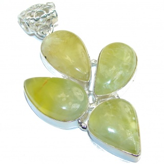 Open your mind Genuine AAA Prehnite Sterling Silver Pendant