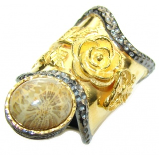 Big! Gorgeous Brown Fossilized Coral, Gold PLated, Rhodium Plated Sterling Silver ring s. 6