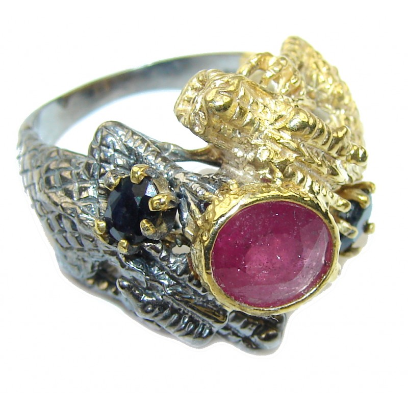 Natural Pink Ruby, Gold Plated, Rhodium Plated Sterling Silver Ring s. 9