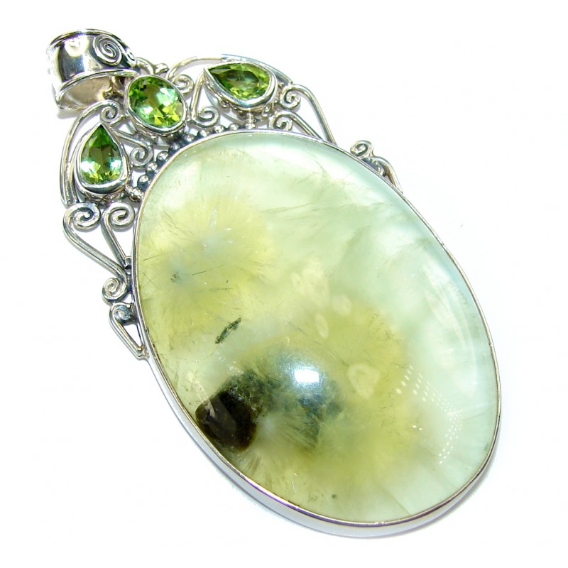 Morning Bright Green Moss Prehnite Sterling Silver Pendant