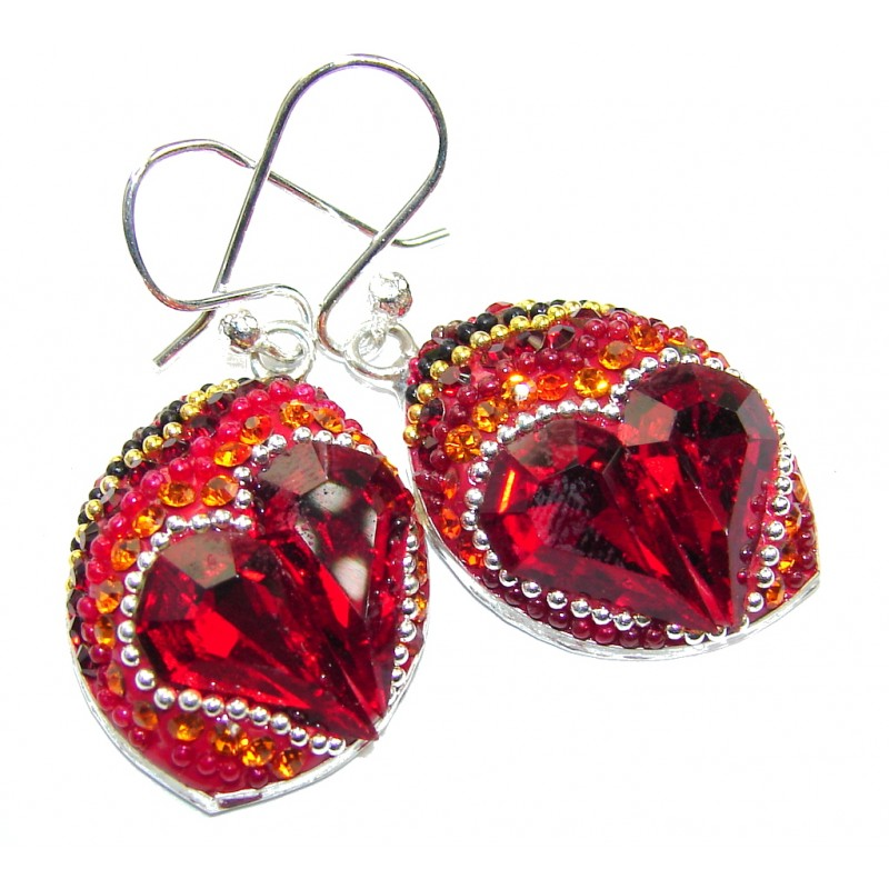 Mexican Style! Red Garnet Quartz Sterling Silver earrings