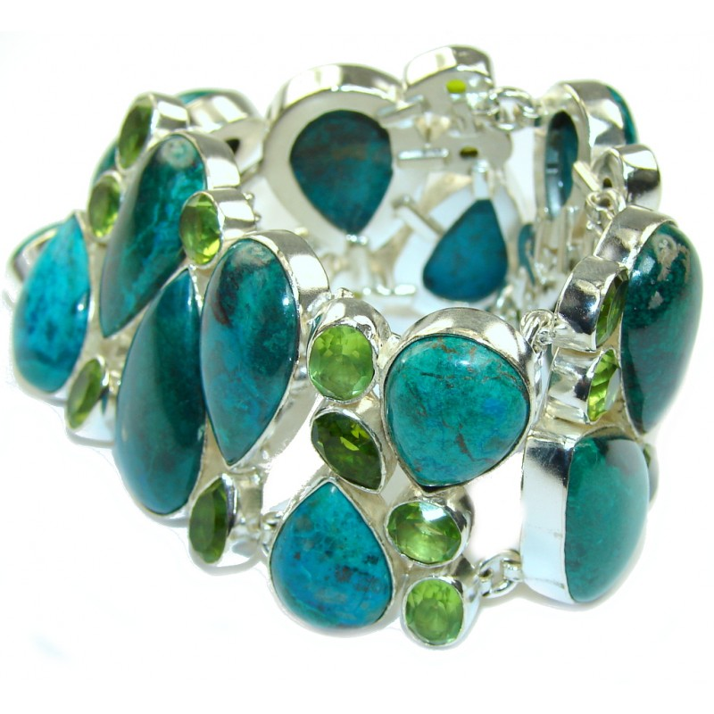 Gift of Nature Parotts Wing Chrysocolla & Created Peridot Sterling Silver Bracelet