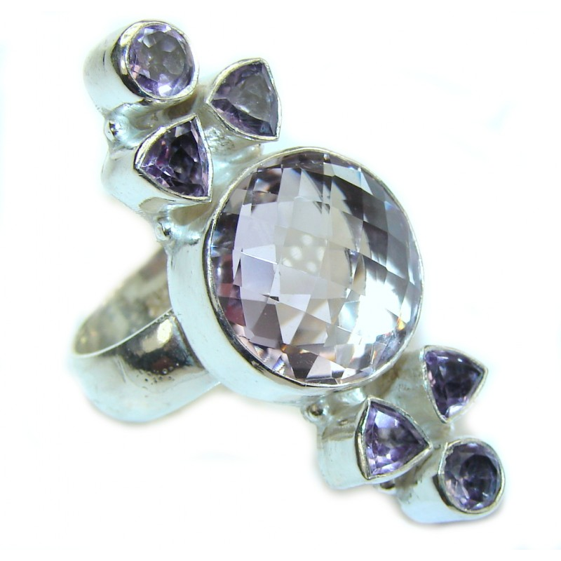 Delicate Light Purple Amethyst Silver Overlay Ring s. 9 1/2